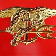 ELITE US NAVY SEALS SPECIAL FORCES OFFICER GOLD TRIDENT WARFARE BADGE MEDAL
