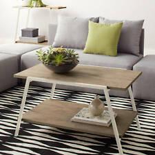 Modern Coffee Table Storage Shelf Wood Living Room Furniture Metal Rectangle