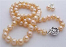 8-9MM Natural Pink Akoya Cultured Pearl necklace earrings set