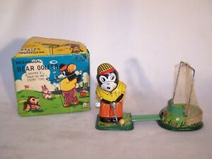 Antique TPS Tin Litho Toy Windup Bear Golfer w/ Original Box (Working Condition)