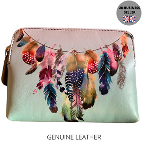 Ladies Leather RFID Graffiti Coin & Card Purse Feathers - genuine leather 7/9002