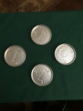 Set Of 4 Vintage West Bend Hammered Aluminum Oak Leaves Acorns Coasters  EUC