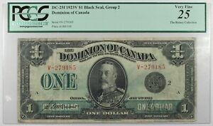 PMG 25 VF Graded Dominion of Canada 1923 $1 Banknote  Black Seal