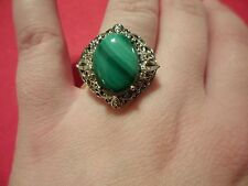 African Malachite & White Topaz Ring in Platinum Overlay-Size 7-11.40 Carats