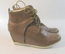 "Womens Brown/White 3"" Wedge Heel Round Toe Ankle Boots Front Lace Up Size 10"