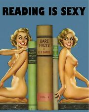 Reading is Sexy Art Print 8 x 10 - Hot Nerd Pin Up Girl - Books - Bibliophile 1
