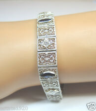 Antique Vintage Art Deco Diamond Filigree Bracelet 14K White Gold D-.60 Carat TW