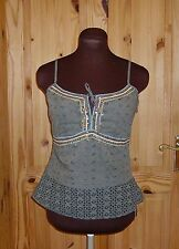 NEXT olive green aqua gold sequin bead broderie anglaise camisole vest top 12 40