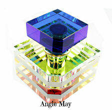Perfume Essential Oil Rainbow Vitrail Finish Cut Glass Square Fragrance Bottle