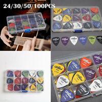 24-100x Acoustic Electric Guitar Picks Plectrum Various 6 thickness Pick Box H88