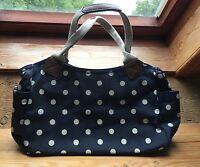 Fab Polka Dot Navy Blue Shoulder Bag/Oil Cloth Look/Retro/Spotty