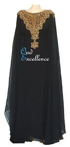Black Farasha with Detailed Gem Work - Size 10-16 - Maxi Dress Abaya Dubai