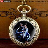 Vintage Cassic Dragon Pocket Watch Pendant Quartz Necklace Antique Chain Gift