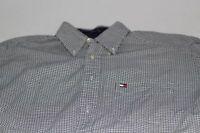 Vintage Men's TOMMY HILFIGER Plaid Navy Blue Button Down Shirt Sz M