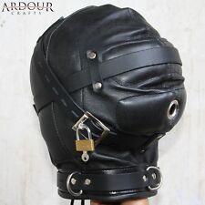 100 % Real Genuine Leather Padded Bondage Mask Hood Black Leather Lockable