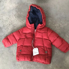 Zara BabyBoy Baby Boys Red Puffer Hooded Jacket Winter Coat 9-12 Months 9 - 12