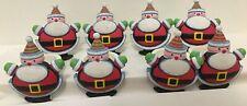 """Santa Napkin Holders Rings Lot of 8 Christmas Table Dinner Kids Resin 2 1/2"""" x 2"""