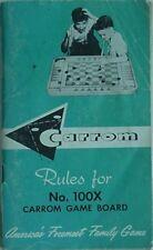 1962 CARROM 100X GAME BOARD RULES BOOKLET (CARROM IND., LUDINGTON, MICHIGAN
