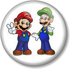 "Super Mario Brothers Mario and Luigi 1"" 25mm Pin Button Badge Bros Nintendo"