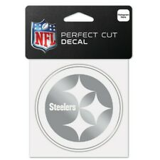 "PITTSBURGH STEELERS SILVER METALLIC CHROME PERFECT CUT DECAL 4""X4"" NFL LICENSED"