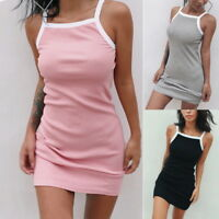 Women Sleeveless Spaghetti Strap Dress Slim Bodycon Sundress Mini Dresses NG