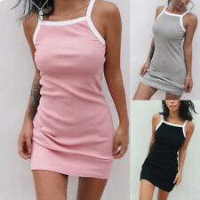 Womens Sleeveless Spaghetti Strap Dress Slim Bodycon Sundress Mini Dresses CI