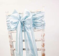 TAFFETA CHAIR SASHES / MATCHING TABLE RUNNERS WEDDING DECOR EVENTS 48 COLOURS