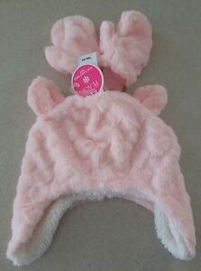 NWT Childrens Place Toddler Girls 2T-3T 4T-5T Plush Hat & Mitten Set PINK #10617