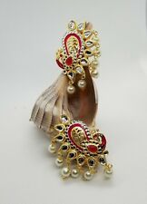 Indo Western Peacock Earrings gold plating and red colors adorned w/pearls party