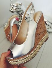WOMENS GIRLS NEW SILVER STUDDED WEDGES SANDALS SUMMER SHOES SIZE 5 and 7