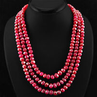 880.00 CTS EARTH MINED RARE RICH RED RUBY 3 STRAND ROUND FACETED BEADS NECKLACE