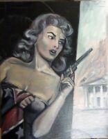 Original painting Dixie confederate South Civil War gun Southern belle American