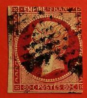 FRANCE EMPIRE NON DENTELE N° 17d CarminVermill (-TB 957-5) OBLITERE SUPER COTE