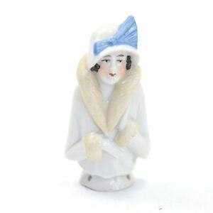 Antique Art Deco porcelain pin cushion half doll lady Flapper 10143 #19 sewing