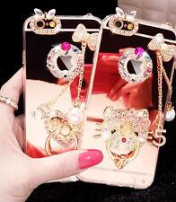 Luxury Mirror Girl Diamond Bling Pendant Soft Case Cover For iPhone 5 6s 7 Plus