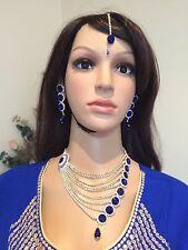 Bollywood Indian Bridal Necklace Earrings Tikka Jewellery Blue White Set  #J15