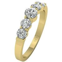 Five Stone Annivarsary Ring Round Cut Diamond SI1 G 1.25 Ct 14K Yellow Gold