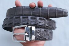 WITHOUT JOINTED - Dark Gray Genuine Crocodile Leather Skin Men's Belt