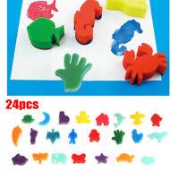 24Pcs/Set Childrens Kids Paint Animal Shaped Sponge Toys for Art Craft Painting