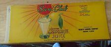 SUNI CLUB Arcadia Florida Tin Can label Desoto Canning Grapefruit Juice Art Deco