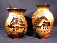 SMF Schramberg Majolika Handgemalt Vases Set of 2
