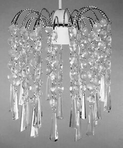 Modern Chandelier Ceiling Light Shades Acrylic Crystal Droplet Pendant Lampshade