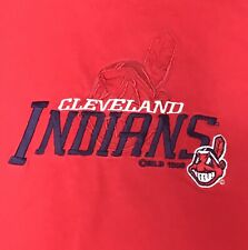 Vtg 90s Embroidered Cleveland Indians T Shirt Red Size XL