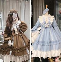 Women Girls Lolita Ball Gown Bowknot Sweet Dress Cosplay Princess Dress Ruffle