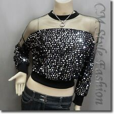 * Chic Sequined Sheer Shoulder Sleeve Blouse Top Black Silvery M