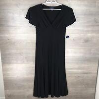Chaps Women's Size Medium Short Sleeve Jersey Midi Dress Black Stretch NEW