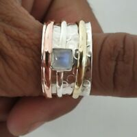 Moonstone Spinner Ring,925 Sterling Silver Wide Band Ring Handmade All Size P-13