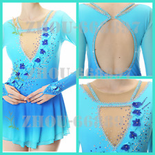 Girls Women Blue flowers Ice Skating Dress Competition Ice Figure Skating Dress