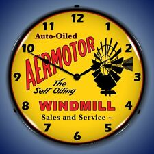 New Auto Oiled Aermotor Windmill Sales & Service Lighted advertising clock