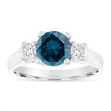 Enhanced Blue Diamond Engagement Ring, 1.65 Carat 14K White Gold Certified